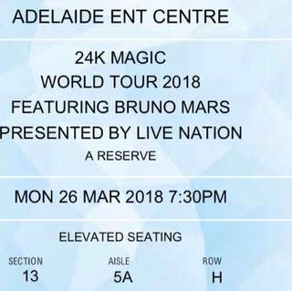 Bruno Mars Adelaide- A Reserve ticket x2