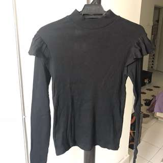 Zara ruffle long sleeve top