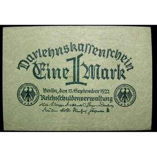 1922年德意志共和國1馬克國債鈔票(威瑪政府時期)