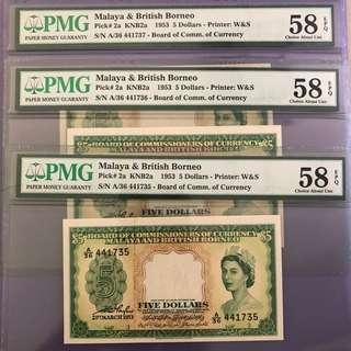 1953 Malaya $5 x 3 Runs