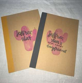 Personalised Notebooks - calligraphy writing, watercolor painting and doodles