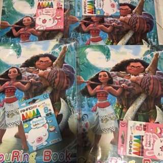 Instock Moana Coloring And Stickers Book Set Brand new