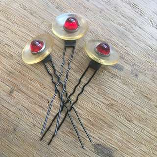 3 Vintage red hair pins