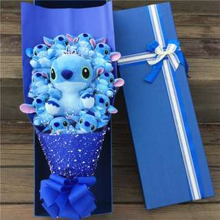Cute 11 pcs Blue Stitch Plushie Blue Rose Bouquet in Box Flower for Gifts (11 pcs of Cute Stitch Plushies)