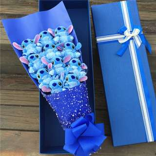 Cute 11pcs Blue Stitch Plushie Blue Rose Bouquet in Box Flower for Gifts (11 pcs of Cute Stitch Plushies)