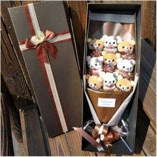 Cute Rilakkuma Plushie Brown Rose Bouquet in Box Flower for Gifts (9 pcs of Rilakkuma Plushies)