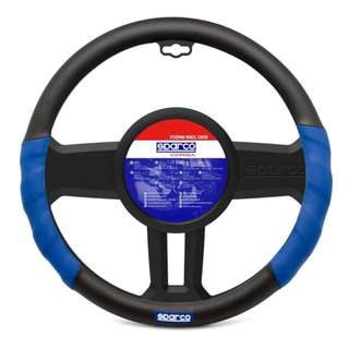 Sparco SPC1100L Steering Wheel Cover-(Black/Blue)
