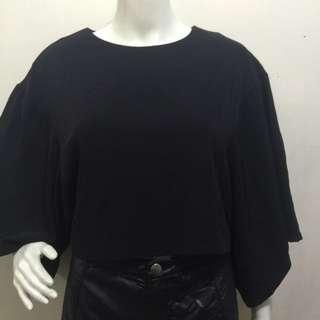 M'S & EBAY black flare sleeves crop top blouse medium
