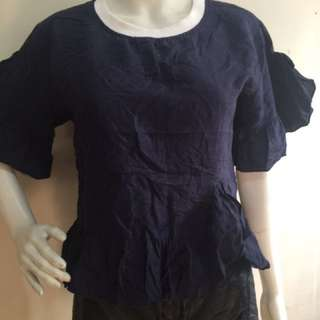 Blue flared hem and sleeves crop top blouse large