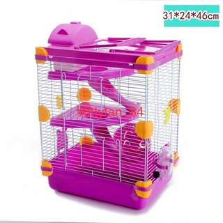 (Big Pink) Brand New Large 3-Storey Hamster Cage For Sale / Comes With Full Accessories/ Water Bottle, Wheel, House, Food Tray