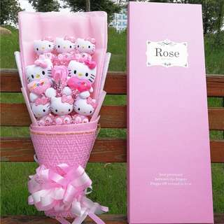Cute Pink Hello Kitty Plushie Pink Rose Bouquet in Box Flower for Gifts (8 pcs of Hello Kitty Plushies)