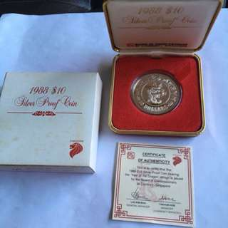 1988 Year of Dragon $10 Silver Proof Coin