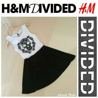 Divided By H&M Skull/Rose Graphic Fit 'n Flare Dress
