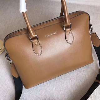 Burberry Leather Briefcase Bag Brown