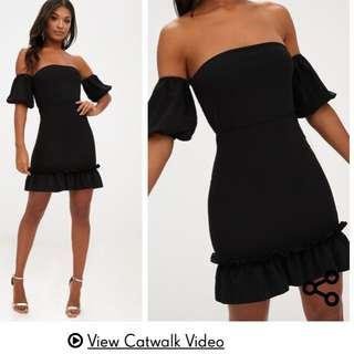 Black Off Shoulder Puff Sleeve Dress