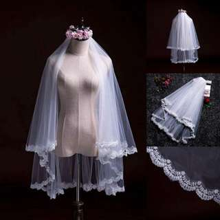 instock - kate middleton's veil inspiration with 2 tier lace wedding veil with comb
