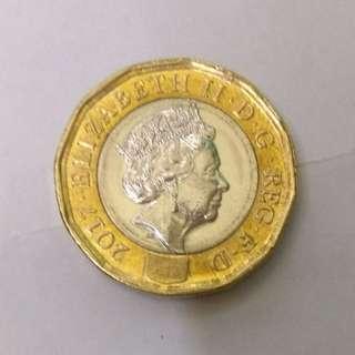 英國金色硬幣£1 最小要買五個.年份有16- 17