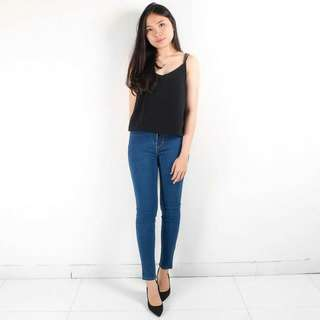 Plain Skinny Jeans Dark Blue (HW)