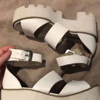 Windsor Smith White Platform Sandals