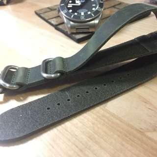 22mm Leather Zulu/Nato Strap 真皮錶帶 (Tudor, Seiko, Apple Watch)
