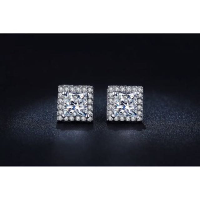 18K White Gold Filled Square Shape Stud Earrings with Swarovski Crystal