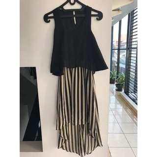 PRELOVED BLACK ASSYMETRICAL STRIPE DRESS