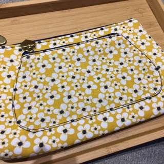 《全新》日系和風黃色小花化妝包/收納包/拉鍊袋