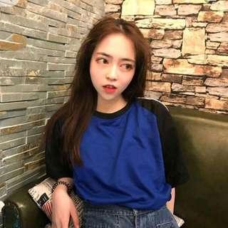Korean ulzzang harajuku raglan summer black and white shirt