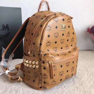 MCM Leather Rivet Studded Visetos Brown Backpack