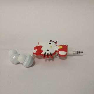 Earphone/ headset hello kitty merah