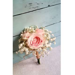 Beautiful Rustic Pink Roses bridal bouquet (Wedding / ROM/ /Engagement Bridesmaid / Proposal/ Anniversary)