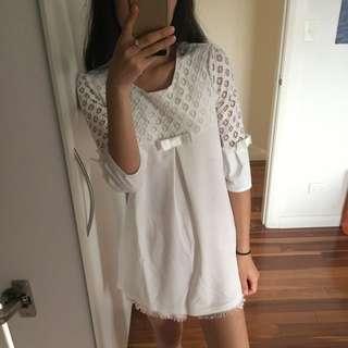 NWT Boho cute white blouse dress