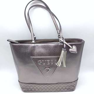 Authentic GUESS silver tote bag
