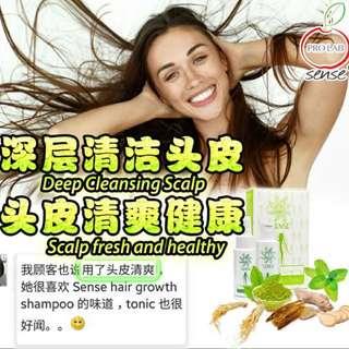 1 btl SENSE Hair Growth Shampoo + Tonic (1套装) >>修補受損髮質 >>滋潤柔順 >>潤澤頭髮 >>強化髮根 >>防掉髮 >>去頭皮角質 >>鎮定敏感頭皮 >>舒緩壓力 >>平衡油指分泌 >>乌黑亮丽,减少白头发 >>修复染发后受损发质