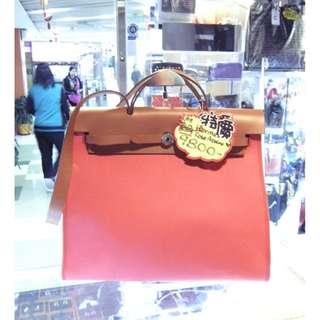 Hermes 8W Rose Azalee Pink Canvas / Brown Leather Classic Herbag 40cm Shoulder Hand Bag 愛馬仕 杜鵑桃色 粉紅色 帆布 / 啡色 牛皮 皮革 經典款 40公分 手挽袋 手袋 肩袋 袋