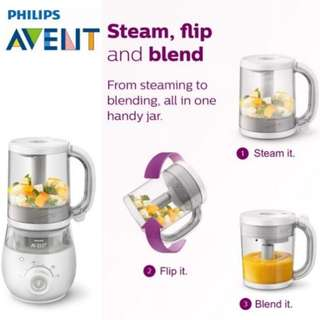 Philip 4 in 1 Healthy Baby Food Maker (Food Processor) + VIA Cups Bundle