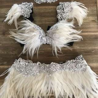 White feather and jewel bra skirt choker festival doof set