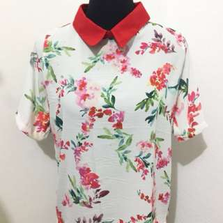 Collared Floral Short Sleeves