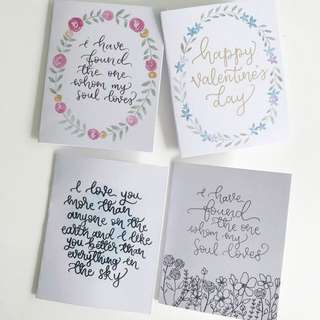 Pre-made Calligraphy valentine's day Cards