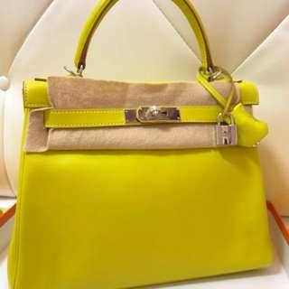 Hermes Kelly 28 9R lime 糖果黃🌈98新近新美品!還是最好的尺寸!超美顏色 O刻