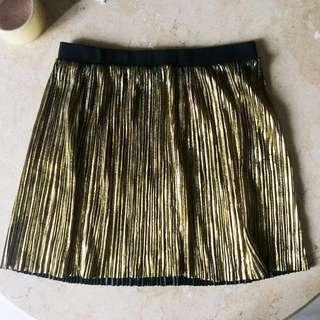 Forever 21 Mini pleated gold skirt