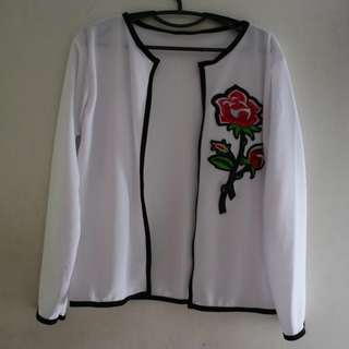 White Blazer with Rose Patch