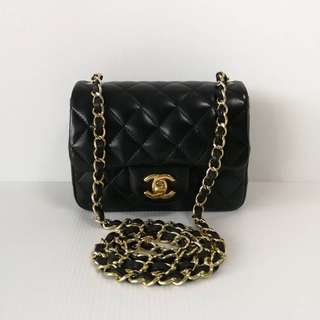 Authentic Chanel Classic Mini Square Lamb