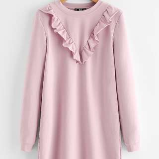 Baby Pink V Frill Long Sleeve Dress