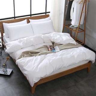 Comforter Set Plain White 5 in 1 US Cotton Bedsheets