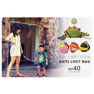 Children Anti-Lost Safety 3D Cartoon Bag with Safety Leash