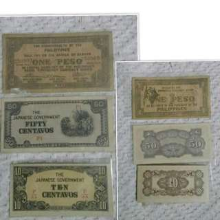 VINTAGE COLLECTION JAPANESE ERA PHILIPPINE OLD BILL COLLECTION
