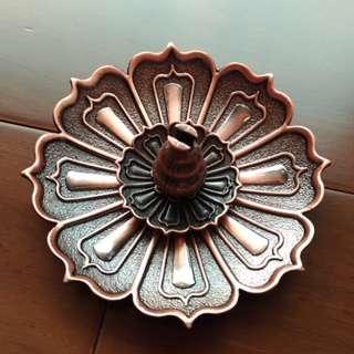 🚚 蓮花三寶香插紅銅色葫蘆線香盤