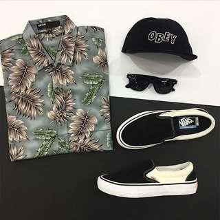 Shirt Hawai SnapBack Obey Logo Vans Slipon Pro