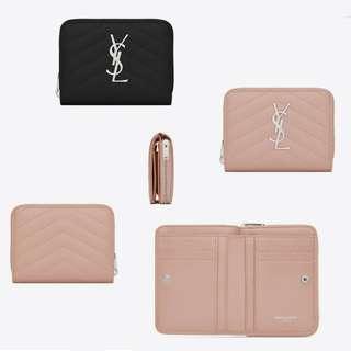 YSL Monogram Compact Zip Around Wallet
